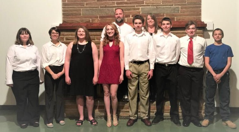 Young people at Ss. Peter & Paul parish in Boonville helped serve the parish's annual Valentine dinner in order to raise money to attend the 2019 National Catholic Youth Conference in Washington, D.C. Pictured are: (front row) Madison Gaines, Kia Moore, Alyssa Gross, Hannah Gross, Nathaniel Krebs, Bryce Harris, Harley Waller and Joshua Moore; (back row) group sponsors Rich and Dawn Kuster. Also taking part were Chris Gross and Sarah Miller and sponsors Kris Stodgel and Kathy Miller.