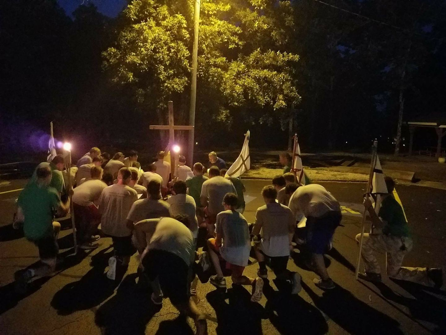 Participants in one of last year's Camp Maccabee sessions pray Night Prayer outside before heading to bed.