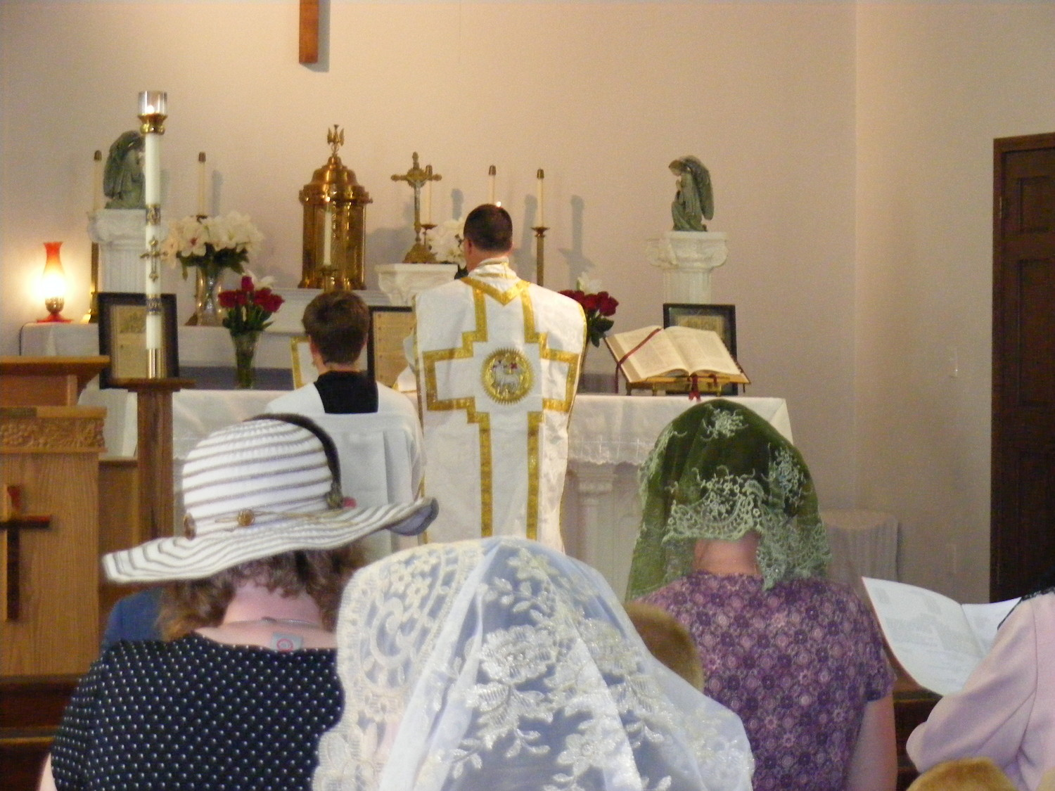 Father Kevin Drew, a priest of the Diocese of Kansas City-St. Joseph, offers Mass in Latin in St. Rose of Lima Church in Novinger.