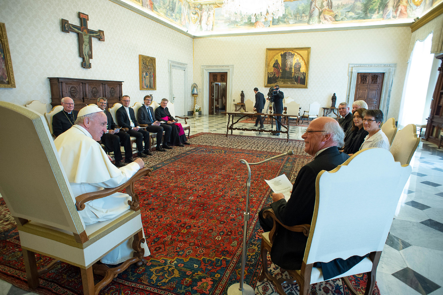 Pope Francis meets with a delegation from the Evangelical Lutheran Church of Germany at the Vatican June 4. The Pope urged patient progress in ecumenical dialogue. The same day, the Vatican confirmed the Pope had asked Germany's Catholic bishops not to publish guidelines that would relax restrictions on when Protestants married to Catholics could receive Communion.