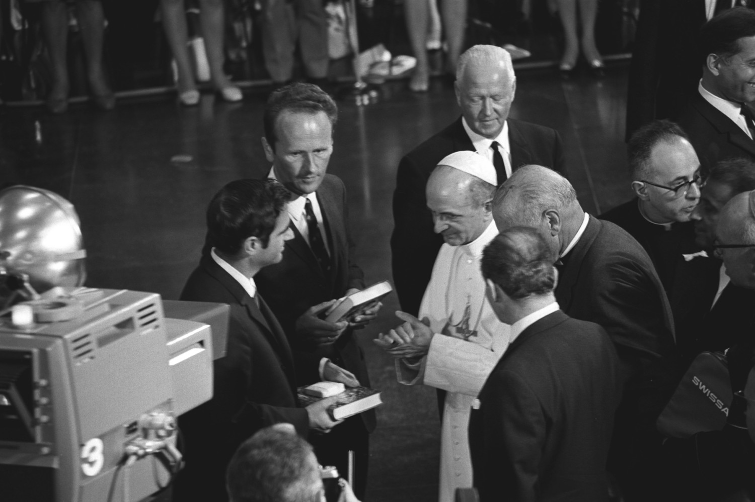 Blessed Pope Paul VI greets members of the Protestant community of Geneva during his visit to the World Council of Churches in Geneva June 10, 1969. Pope Francis is scheduled to attend an ecumenical prayer service and meeting at the WCC during a one-day visit to Geneva June 21.