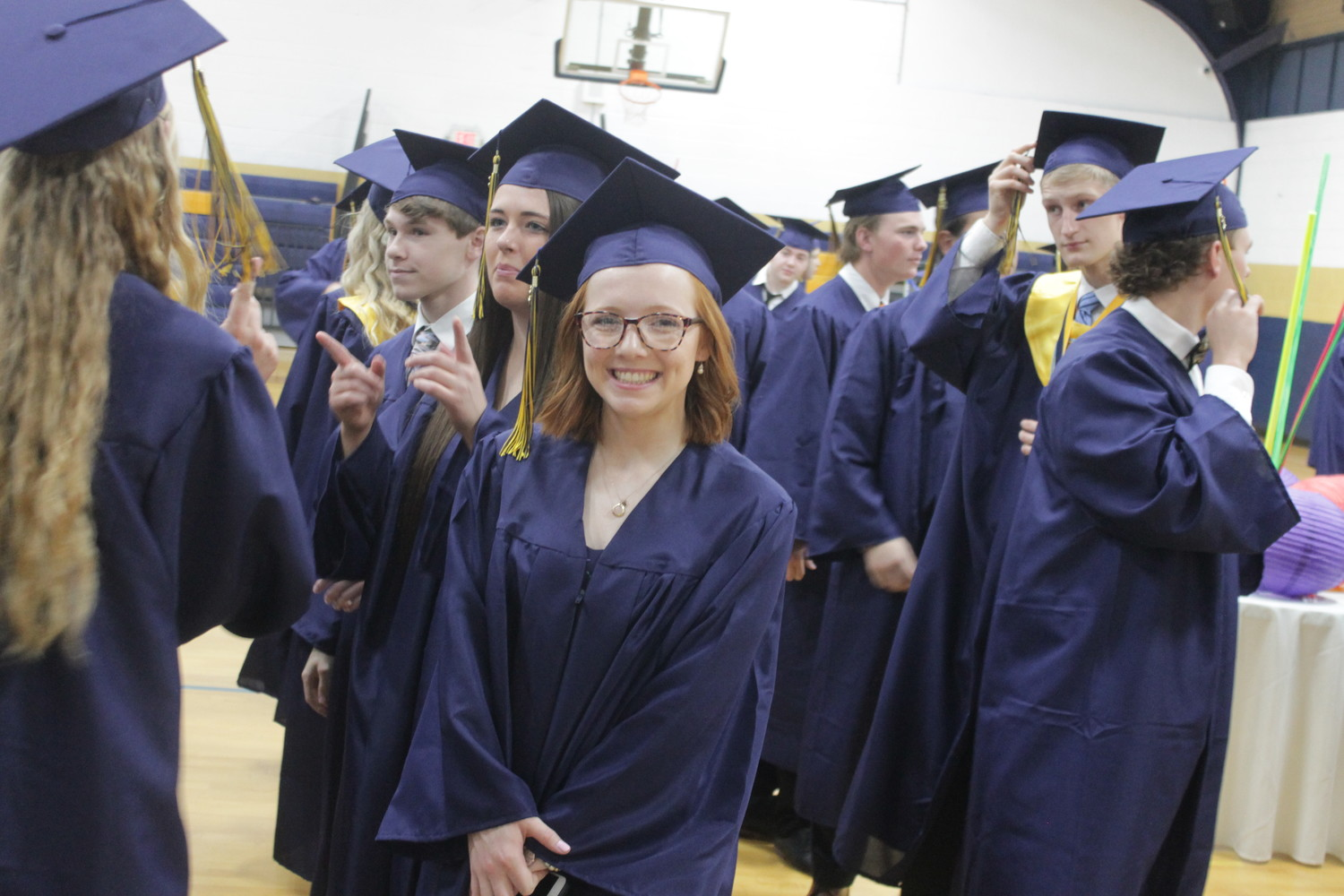 Members of Helias Catholic High School's Class of 2018 line up before the start of their commencement program May 20.