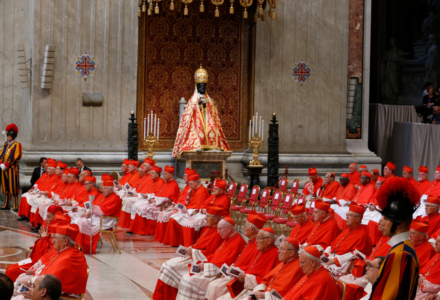 Pope Francis leads a consistory to create 14 new cardinals in St. Peter's Basilica at the Vatican June 28.