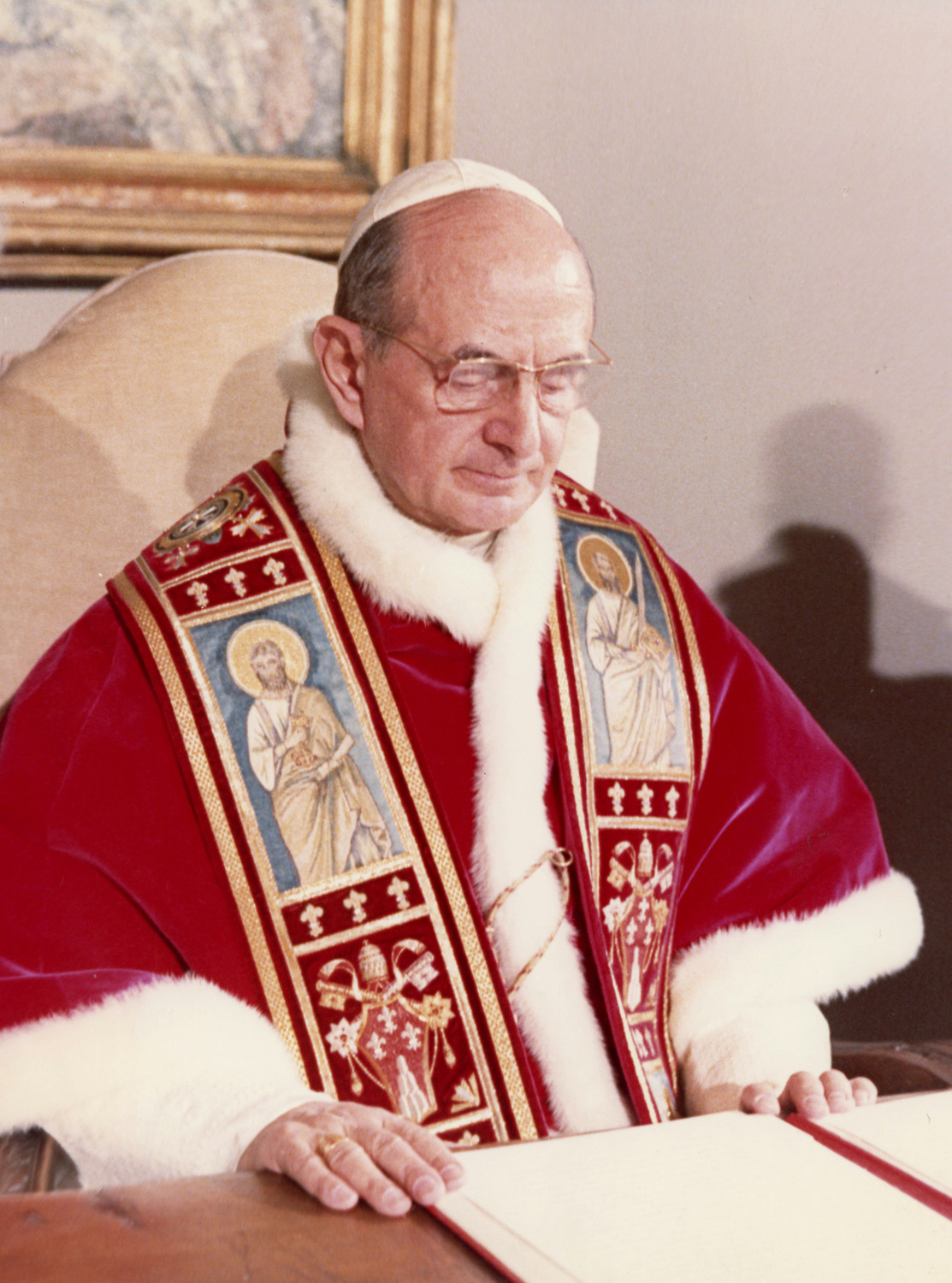 "Pope Paul VI is pictured in a June 29, 1968, photo at the Vatican. Documents in the Vatican Secret Archives and the archives of the Congregation for the Doctrine of the Faith prove it was a ""myth"" that now Blessed Paul VI largely set out on his own in writing ""Humanae Vitae,"" the 1968 encyclical on married love and the regulation of births."