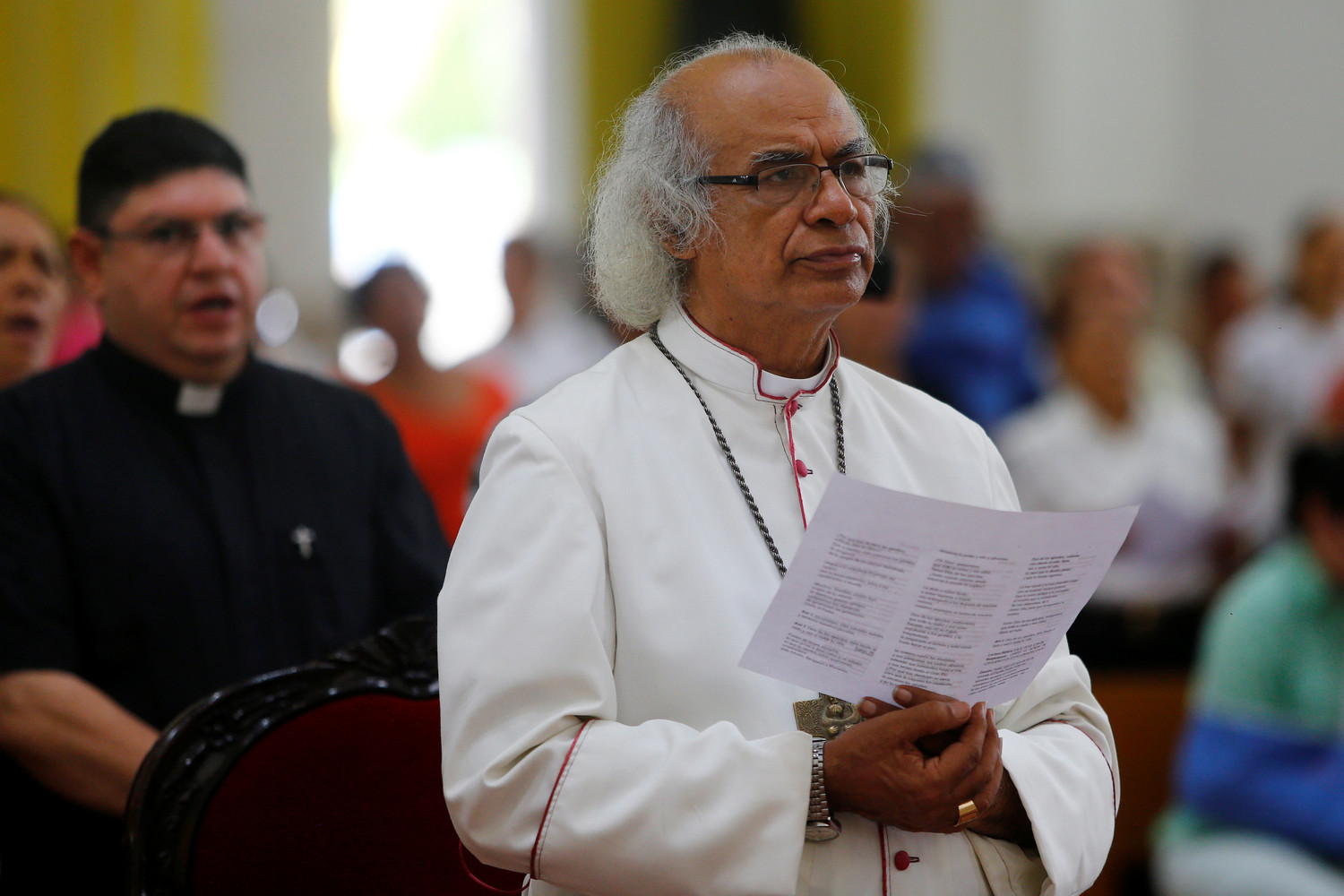 Cardinal Leopoldo Brenes Solorzano of Managua, Nicaragua, celebrates Mass June 21 at the Metropolitan Cathedral as clashes between anti-government protesters and police continue in Managua. The cardinal was among Nicaraguan bishops and clergy attacked by armed groups aligned with the government July 9 in the city of Diriamba.