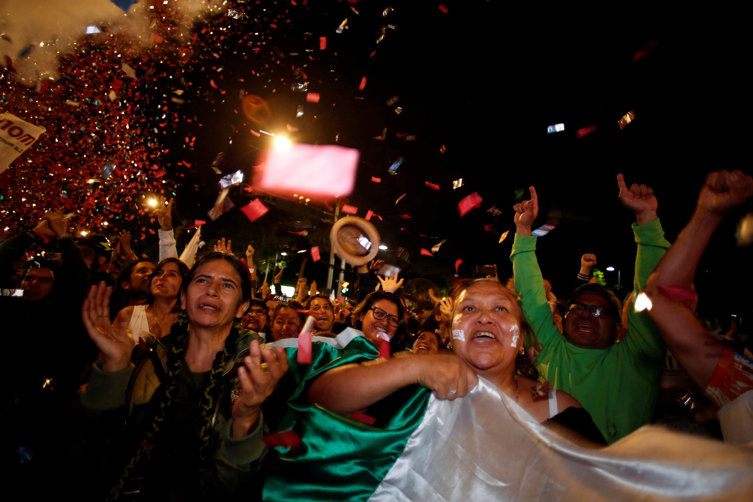 Supporters of Mexico's next President Andres Manuel Lopez Obrador celebrate July 1 in downtown Mexico City.