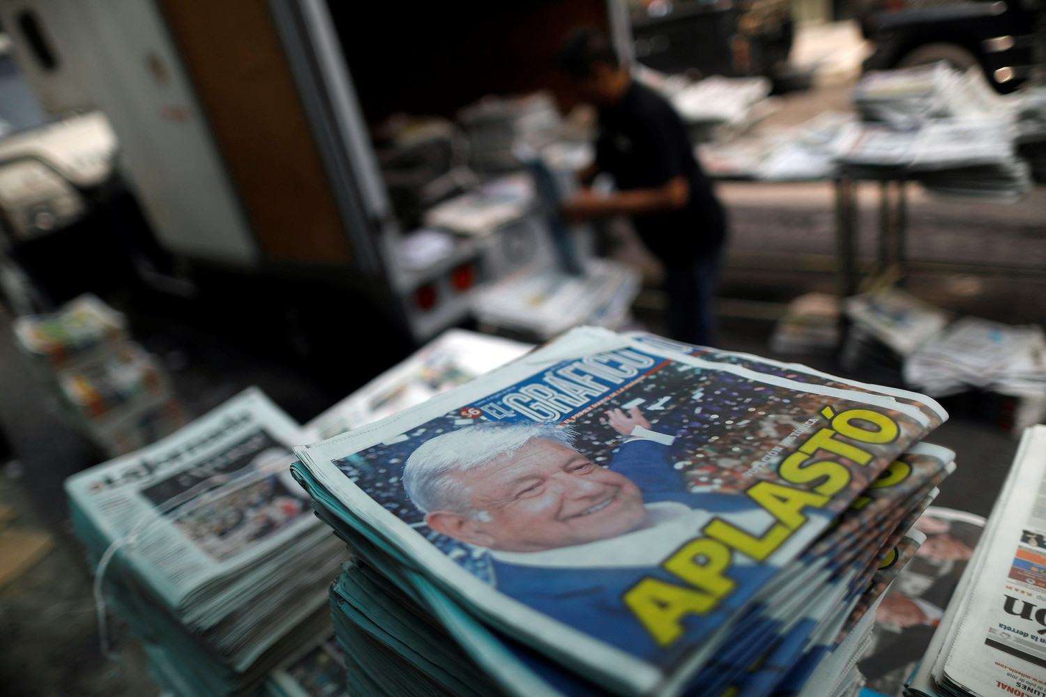 Newspapers are seen July 2 in Mexico City after the election of Andres Manuel Lopez Obrador as the new Mexican president.