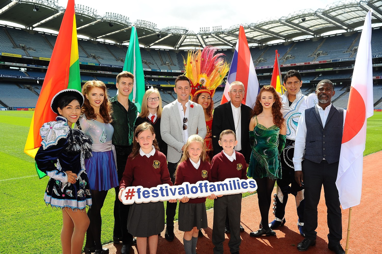 People pose July 19 during the launch of the World Meeting of Families in Dublin's Croke Park. Pope Francis will travel to Ireland Aug. 25-26 for the end of the gathering.
