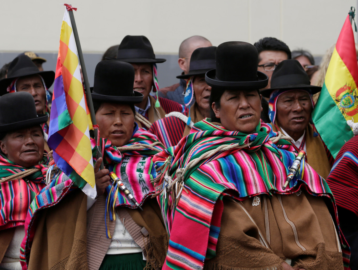 Bolivia's Aymara people attend the inauguration ceremony of Binational Border Service Center in late April in Desaguadero, Peru.