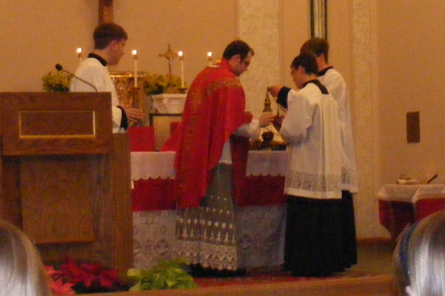 Father Dylan Schrader offers a sung Mass in the extraordinary form in January in St. Bonaventure Church in Marceline as a guest of the Latin Mass Society of Northeast Missouri.