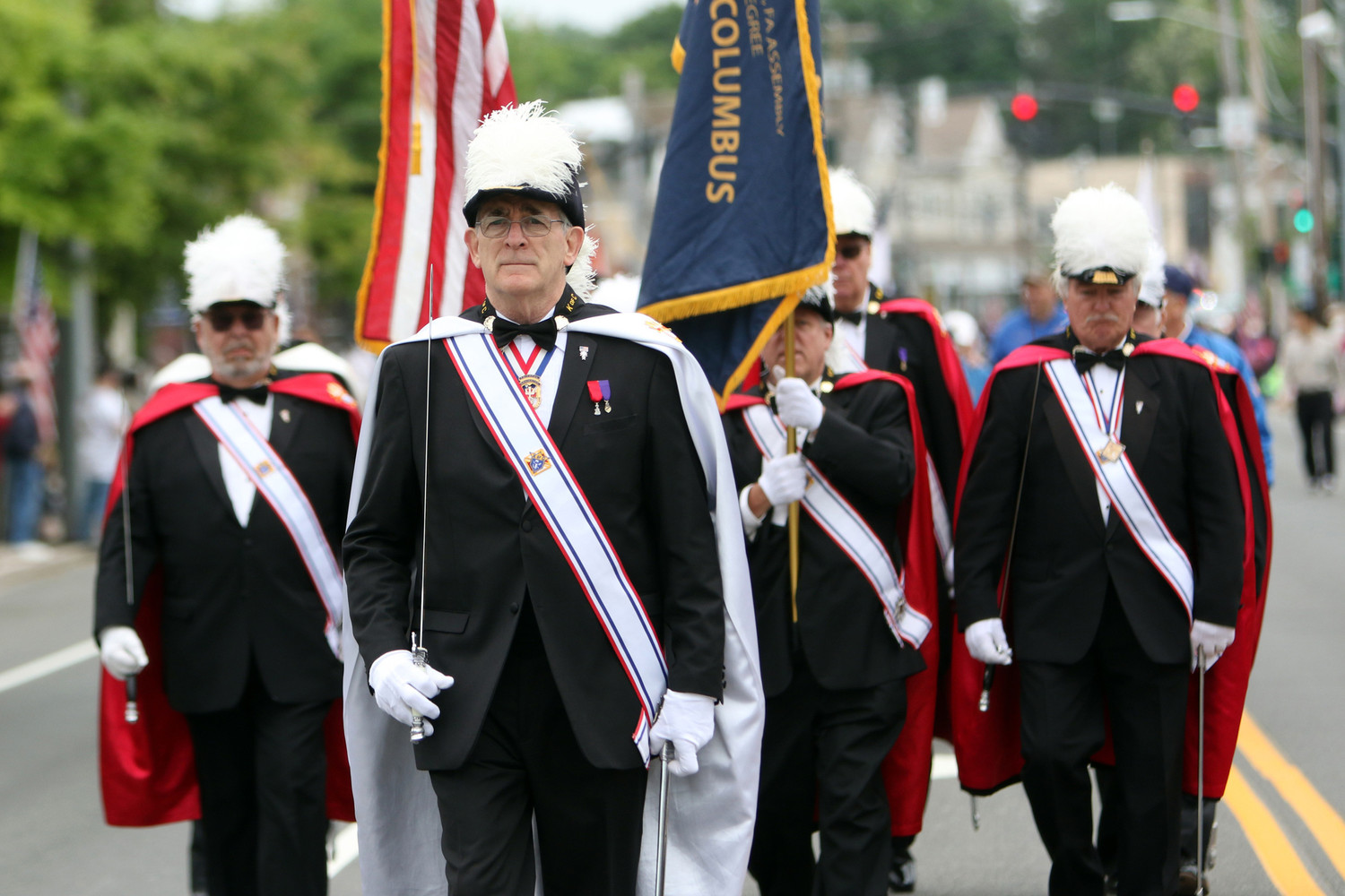 Members of the Knights of Columbus march in the Memorial Day Parade in Smithtown, N.Y., May 28. Motivated by the upcoming change on the Supreme Court, the Knights of Columbus is urging its members and all Catholics to join in an Aug. 3-Sept. 28 novena to pray for the protection of human life in the law.