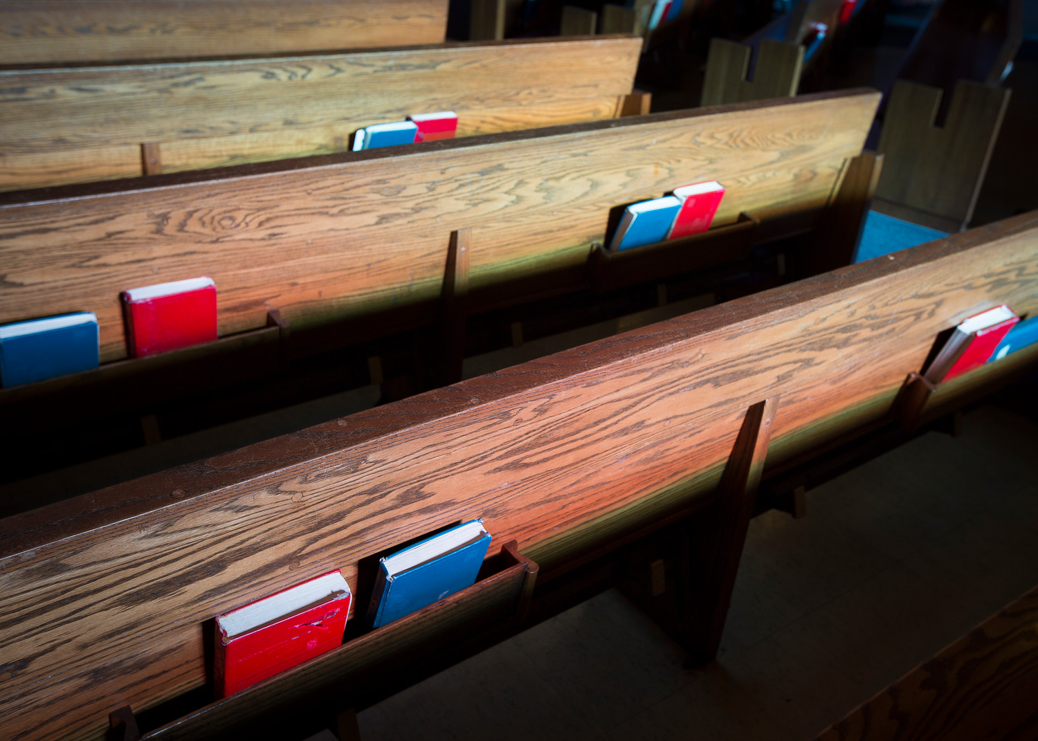 Pews are seen at St. Camillus Church in Silver Spring, Maryland, April 10.