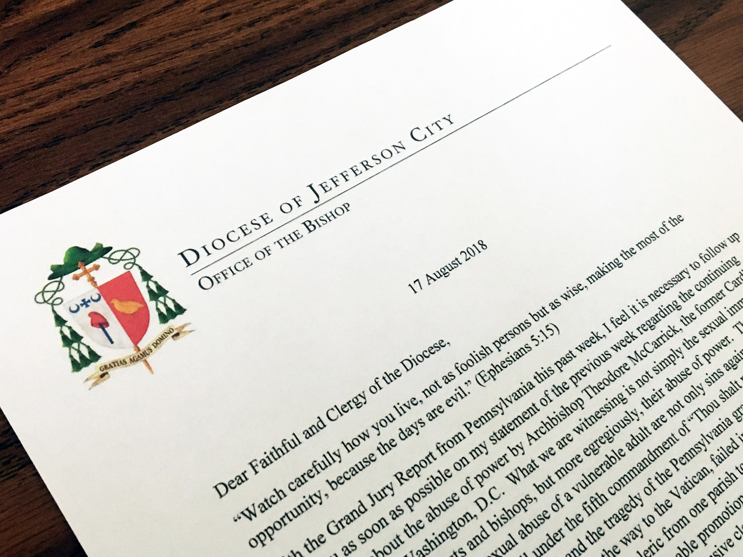 Bishop W. Shawn McKnight directed that this letter to the faithful and clergy of the diocese be read from the pulpit at all weekend Masses Aug. 18-19. In the letter, he restates his commitment to transparency, to promotion of greater healing of the whole Church, and to revising how the sin of abuse is addressed.
