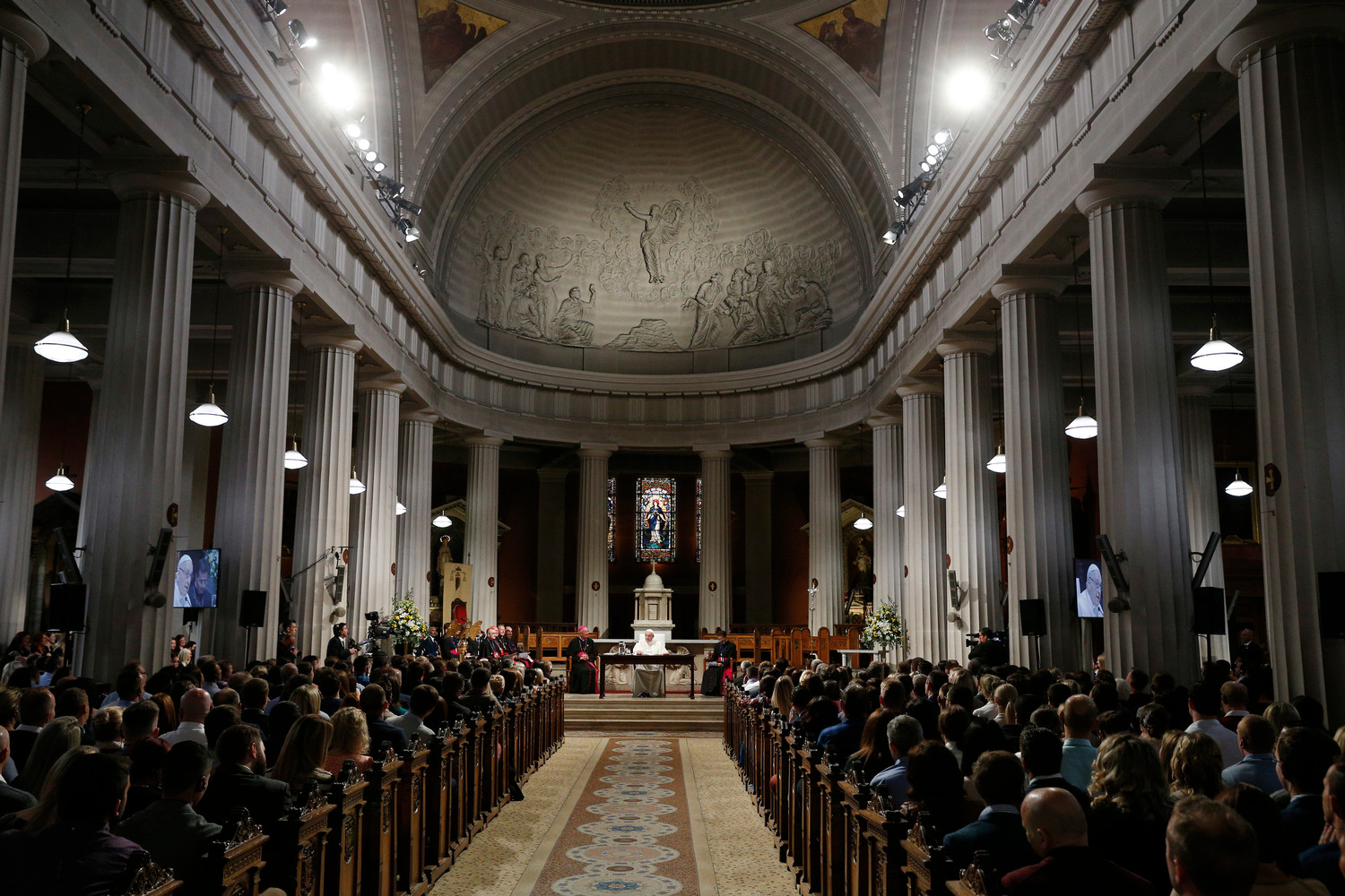 Pope Francis speaks as he visits St. Mary's Pro-Cathedral in Dublin Aug. 25.