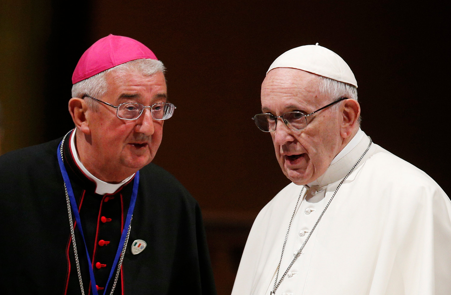 Pope Francis talks with Archbishop Diarmuid Martin of Dublin as he visits St. Mary's Pro-Cathedral in Dublin Aug. 25.