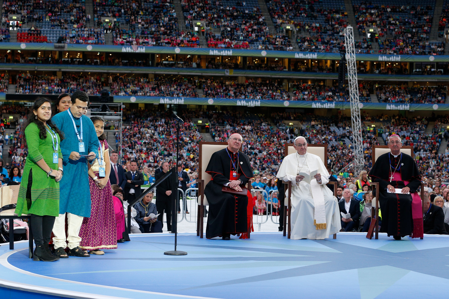 Pope Francis attends the Festival of Families in Croke Park stadium in Dublin Aug. 25.