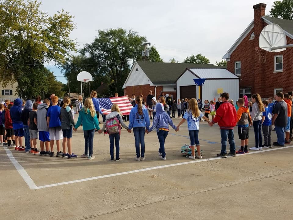 "Students at Immaculate Conception School in Macon join schools around the country in observing the national ""See You at the Pole"" student prayer service on Sept. 26. Prayers were lifted up for the school, church, family, community and country. ""We are so fortunate that our students get to come together in prayer each day!"" said Principal Teresa Thrasher."