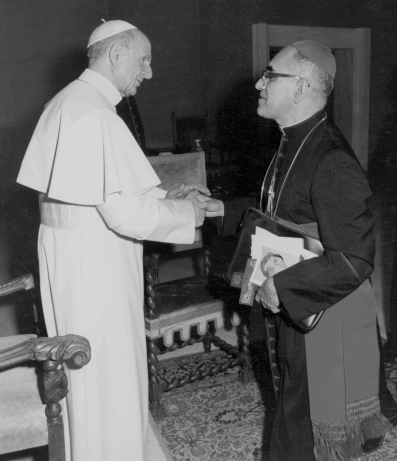 Blesseds Paul VI and Oscar Romero are two of seven new saints Pope Francis will canonize Oct. 14 at the Vatican. They are pictured in an undated photo.