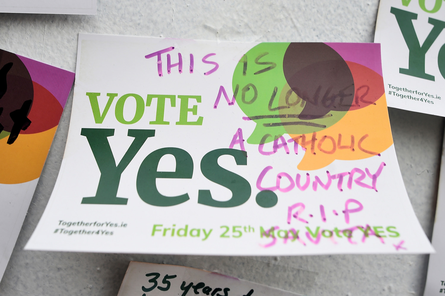 "A message about abortion is seen in Dublin, Ireland, May 27, 2018. The primate of All-Ireland insisted that the country's new abortion law that took effect Jan. 1 has ""no moral force"" and it ""must be resisted"" by Catholics."
