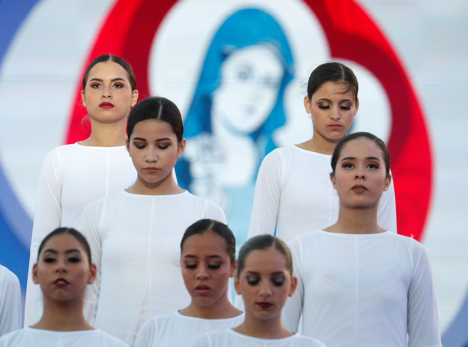 Dancers perform for World Youth Day pilgrims and Pope Francis during the Way of the Cross at Santa Maria la Antigua Field in Panama City Jan. 25, 2019.