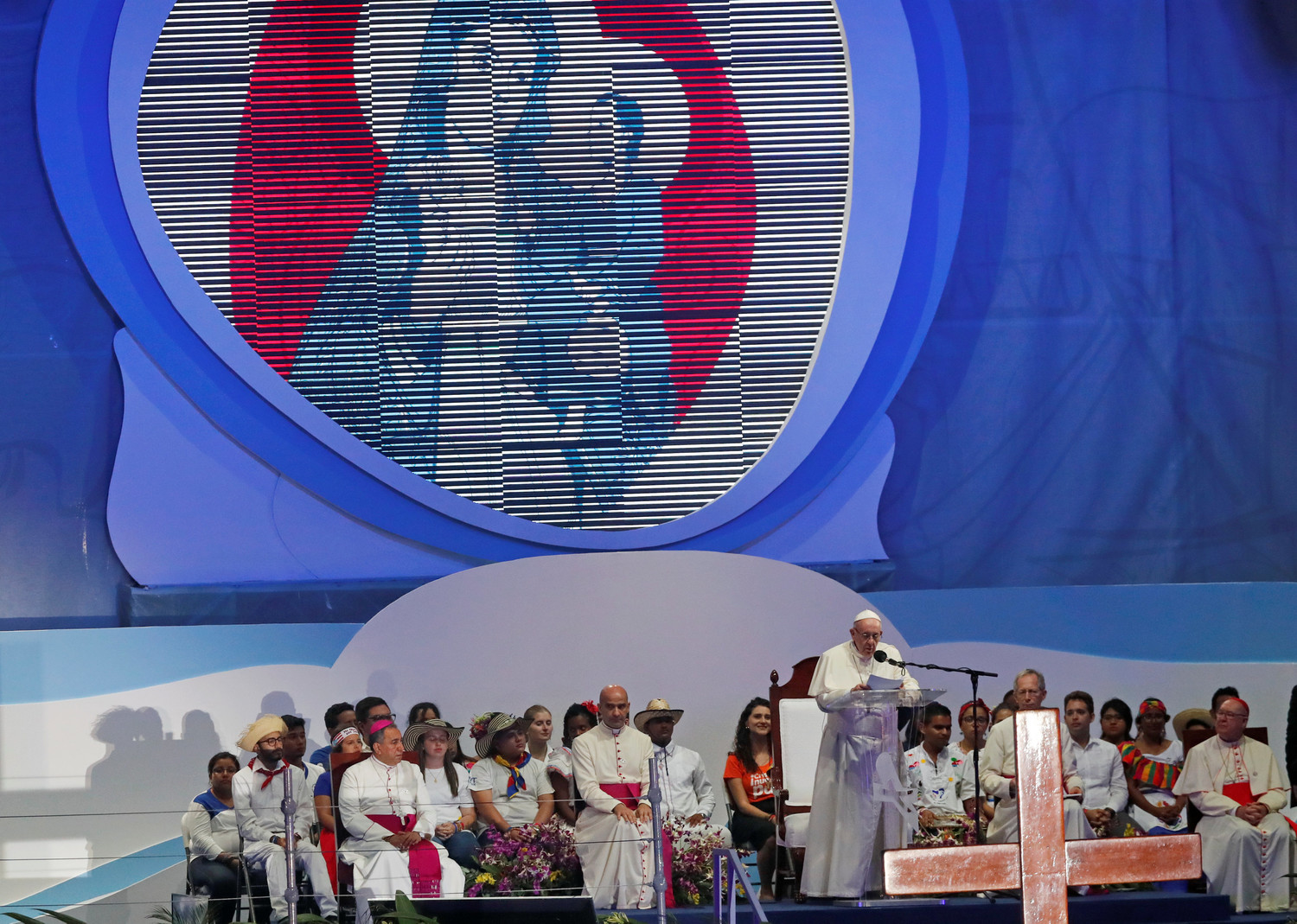 Pope Francis speaks as he leads World Youth Day pilgrims in the Way of the Cross at Santa Maria la Antigua Field in Panama City Jan. 25, 2019.