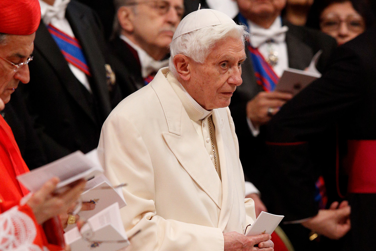 Retired Pope Benedict XVI attends a consistory for the creation of new cardinals in St. Peter's Basilica at the Vatican in this Feb. 22, 2014, file photo. Pope Benedict has released an article addressing the roots of the clerical sexual abuse crisis in the Catholic Church and how the Church should respond now.