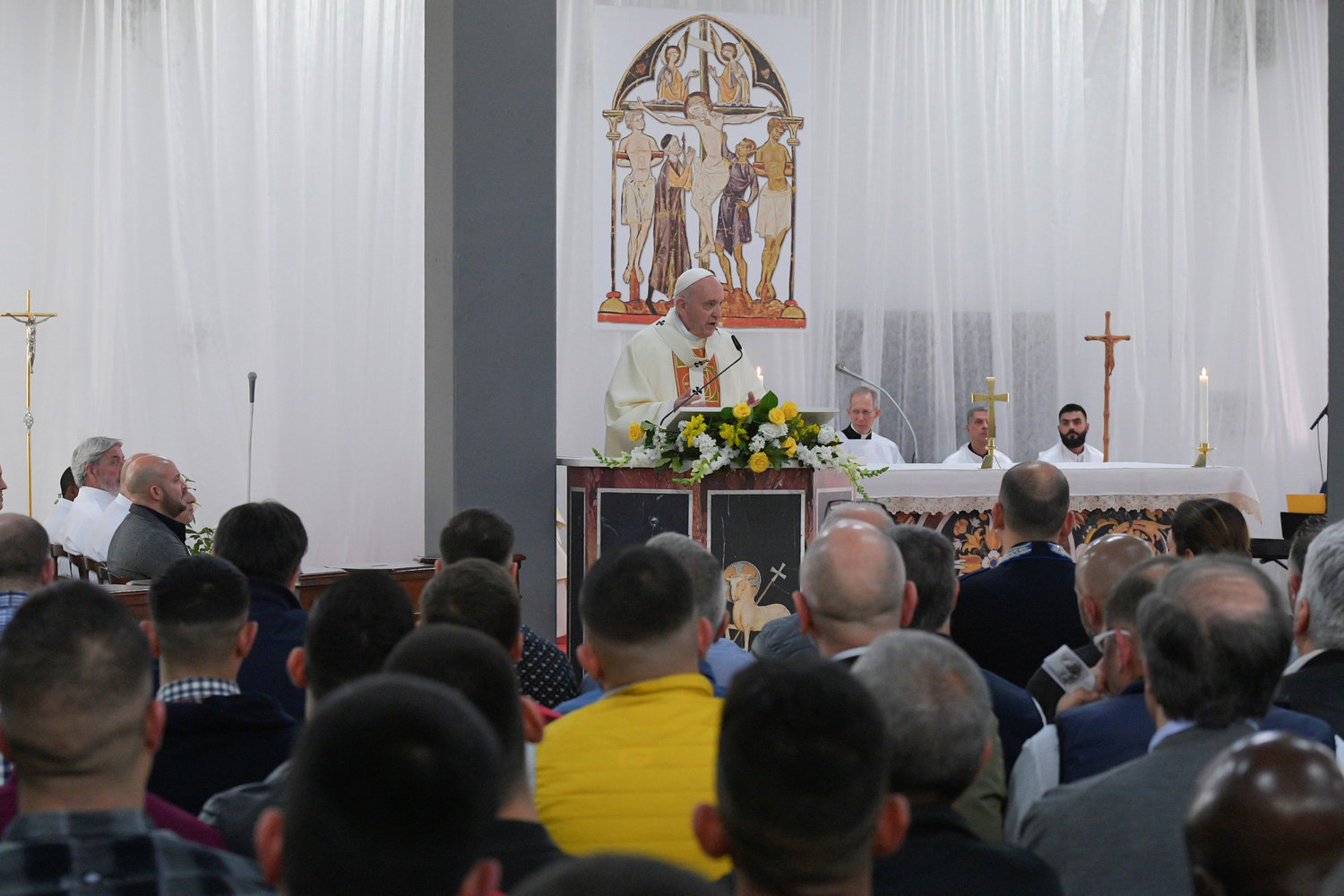 Pope Francis celebrates the Mass of the Lord's Supper April 18, 2019, at Velletri Correctional Facility, 36 miles south of Rome.