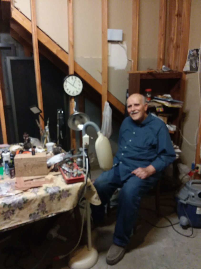 Deacon Fred Weisel displays his work space in his home in Columbia.