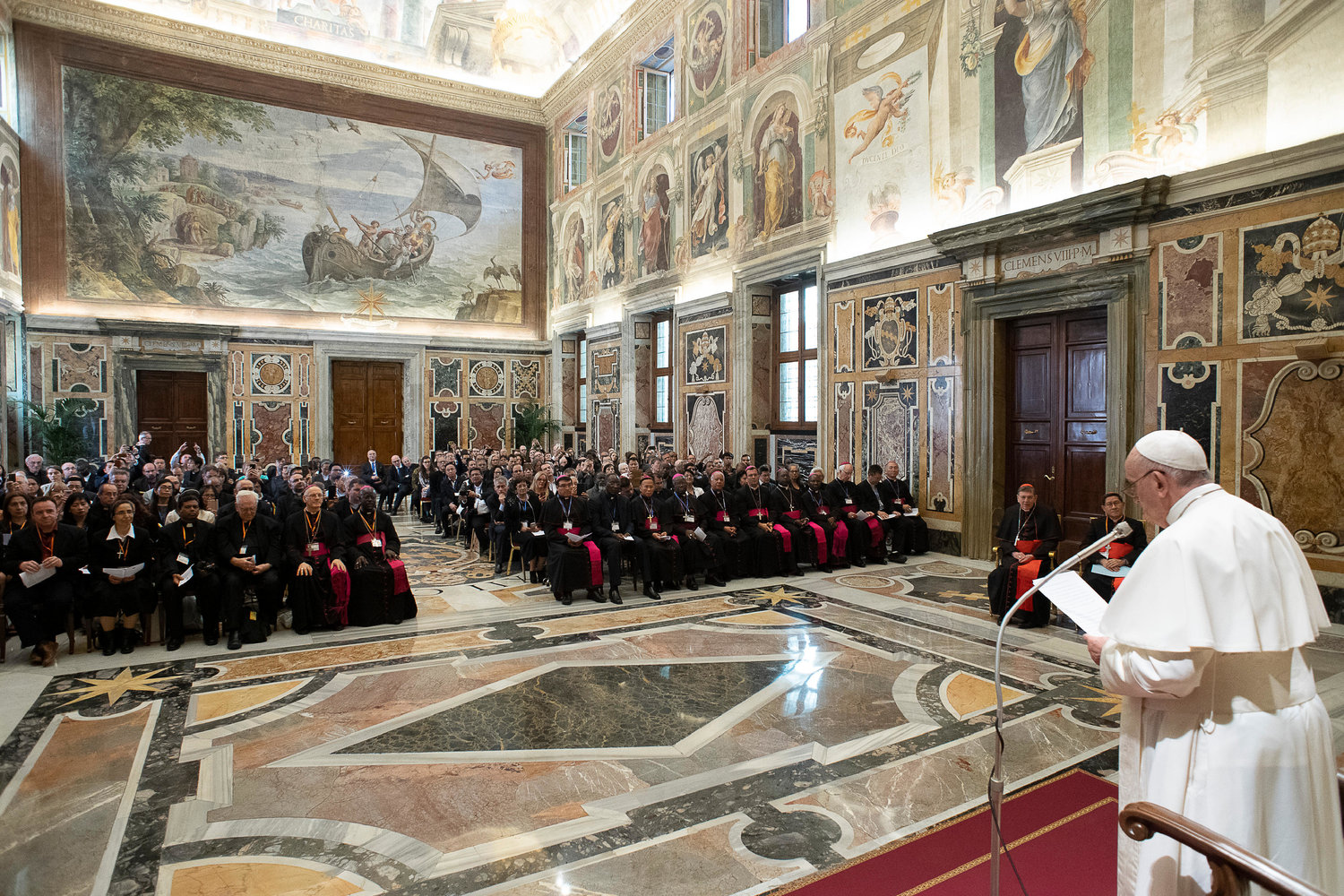 Pope Francis meets April 26, 2019, at the Vatican with members of the Catholic Biblical Federation celebrating their organization's 50th anniversary.