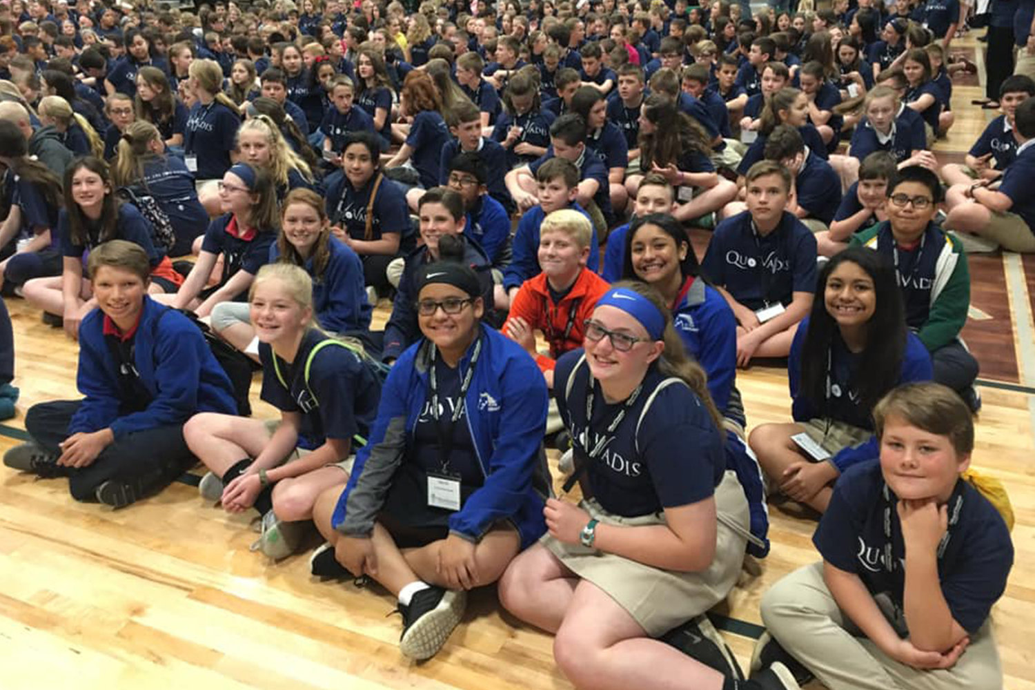 Sixth-graders from St. Peter School in Marshall were among the hundreds who gathered in the St. Joseph Cathedral School Gymnasium for the keynote presentation.