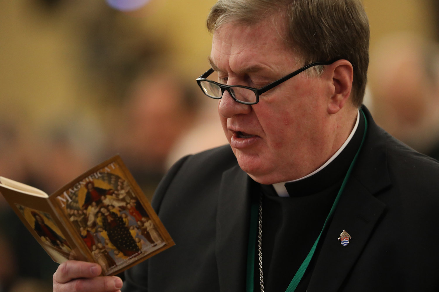 Cardinal Joseph W. Tobin of Newark, N.J., is seen during opening prayer on the first day of the annual general assembly of the USCCB in Baltimore June 11, 2019.