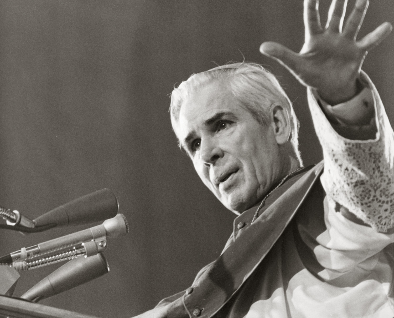 Archbishop Fulton J. Sheen is pictured in an undated file photo. Bishop Daniel R. Jenky of Peoria, Ill., announced June 27, 2019, that the remains of Archbishop Sheen, a candidate for sainthood, were being transferred from New York's St. Patrick's Cathedral to the Cathedral of St. Mary of the Immaculate Conception in Peoria.