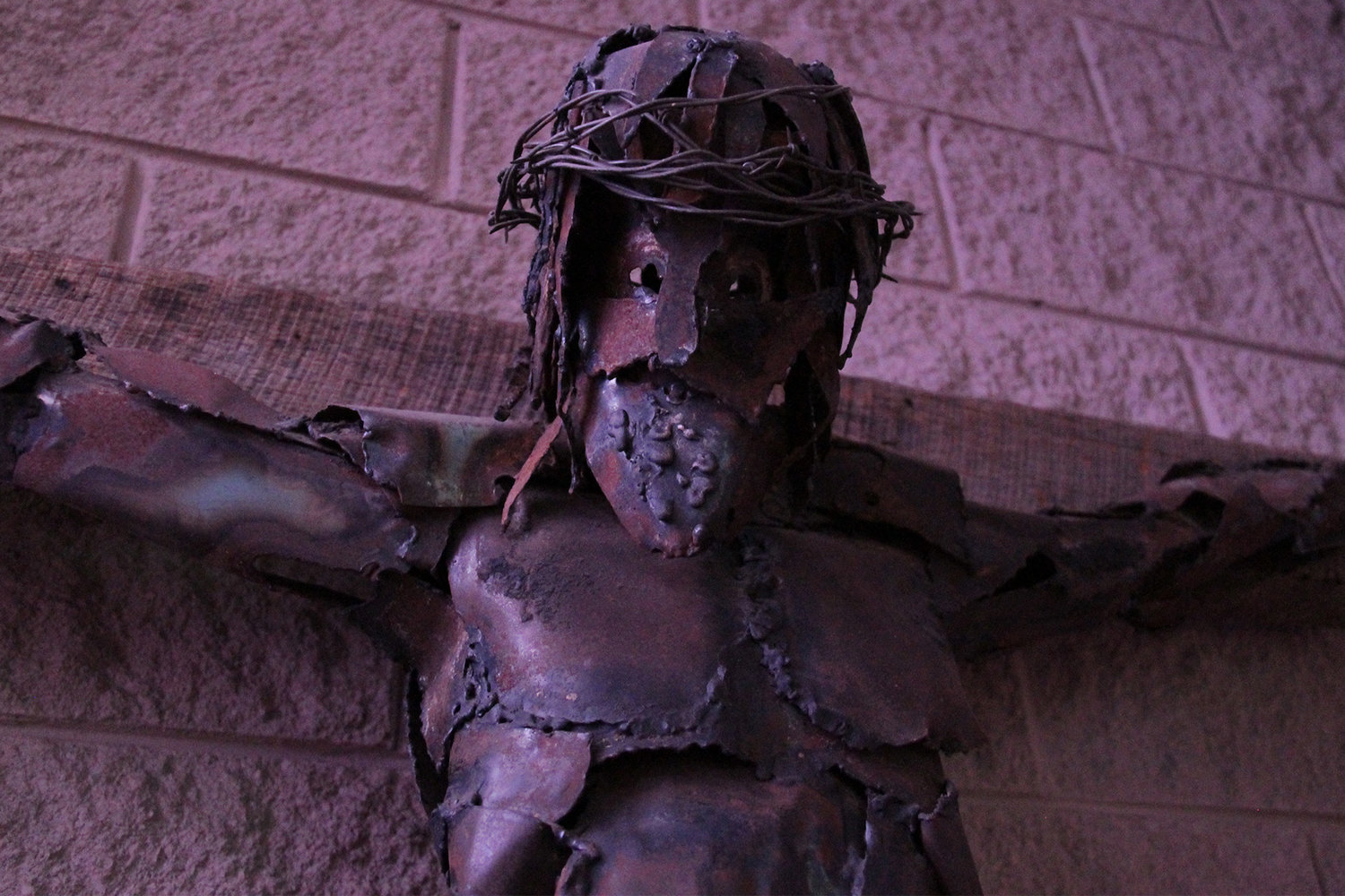 This welded copper crucifix, which was made in 1964 for the sanctuary of the former chapel in the St. Thomas More Newman Center in Columbia, now adorns the center's Blessed Sacrament Chapel.