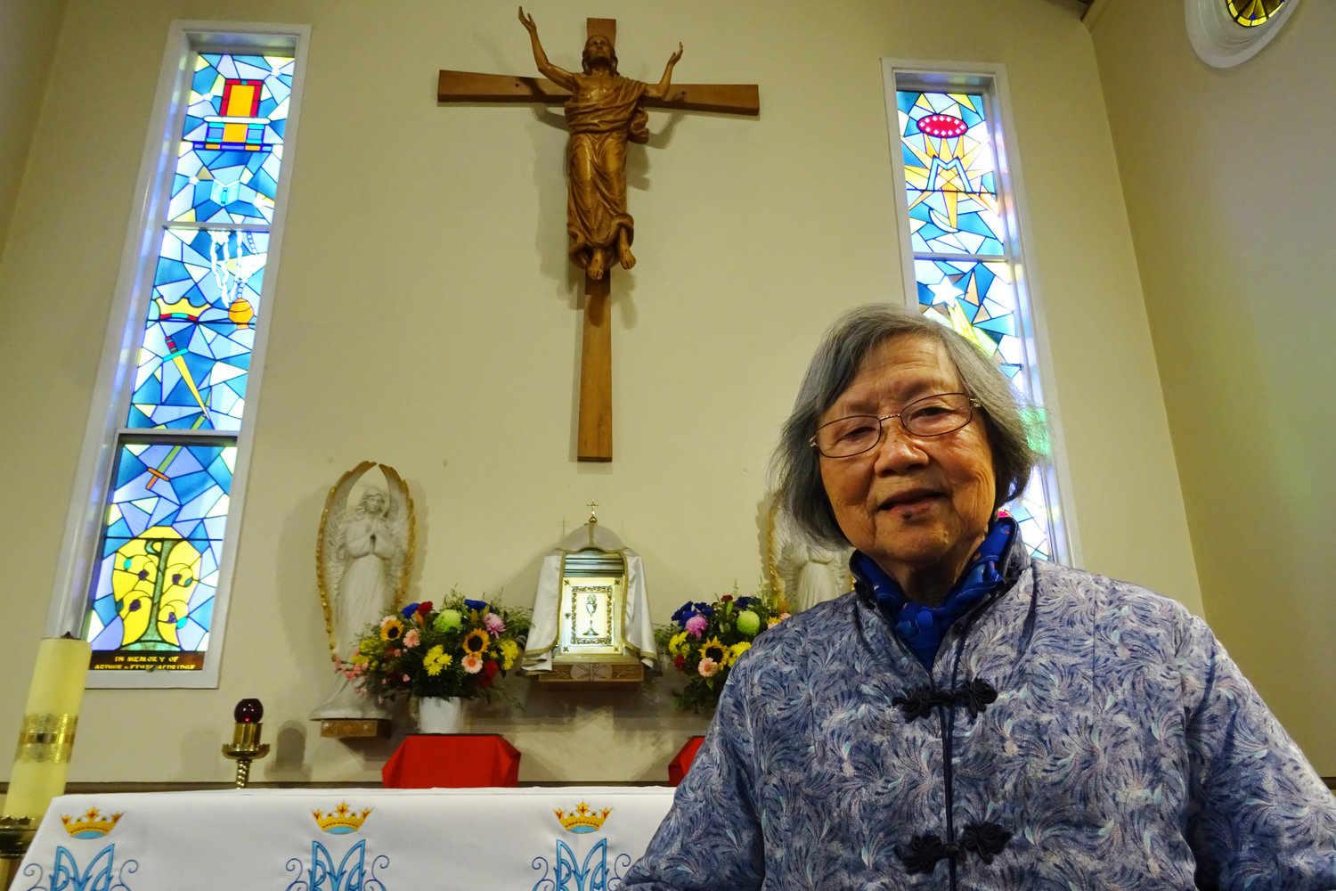 Teresa Liu poses June 15, 2019, at St. Michael Church in Hurstville in southern Sydney, Australia. Liu was imprisoned in China for 20 years because she was a member of Catholic lay organization, the Legion of Mary. She has helped convert hundreds of Chinese migrants to the Catholic faith in Australia.