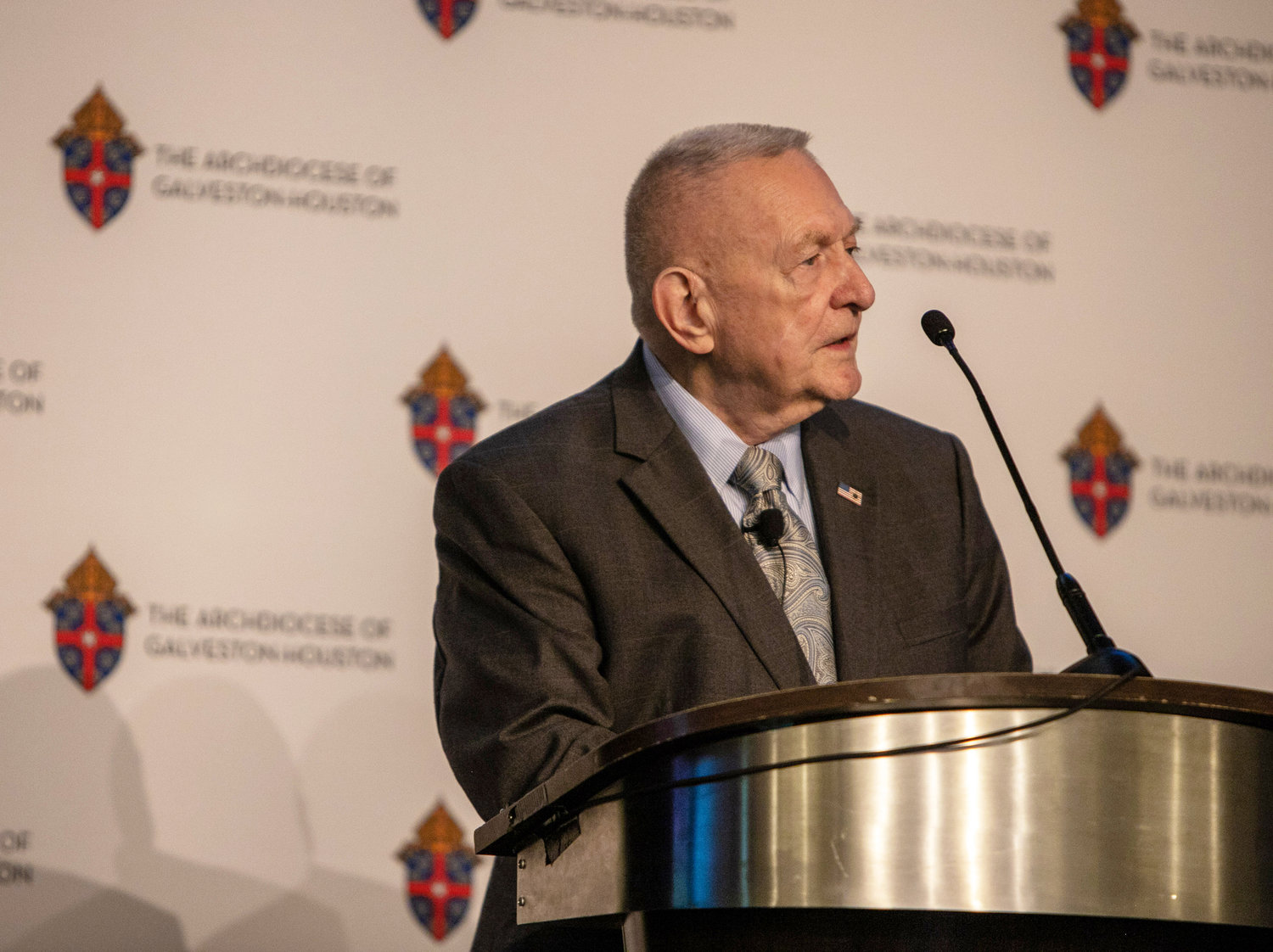Gene Kranz, former flight director for Apollo 11, speaks during the 2019 Archdiocese of Galveston-Houston Prayer Breakfast in Houston July 30. Kranz, who served as the event's speaker, is a parishioner at Shrine of the True Cross Catholic Church in Dickinson, Texas, near Houston.