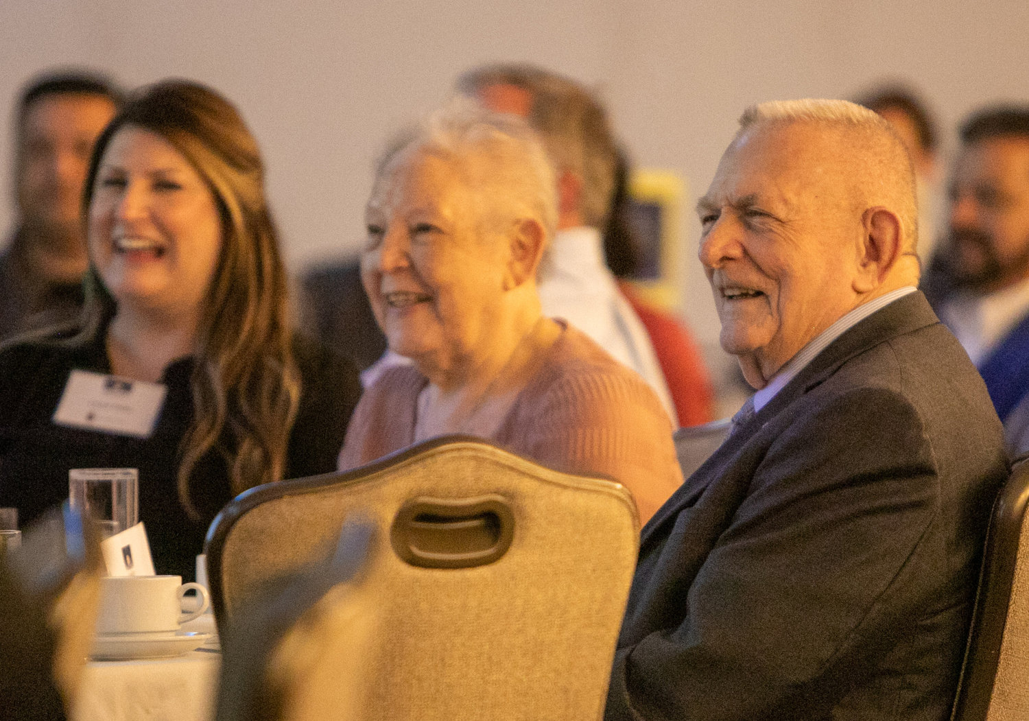 Gene Kranz, right, former flight director for Apollo 11, smiles alongside his wife, Marta, during the 2019 Archdiocese of Galveston-Houston Prayer Breakfast in Houston July 30. Gene Kranz, who served as the event's speaker, is a parishioner at Shrine of the True Cross Catholic Church in Dickinson, Texas, near Houston.