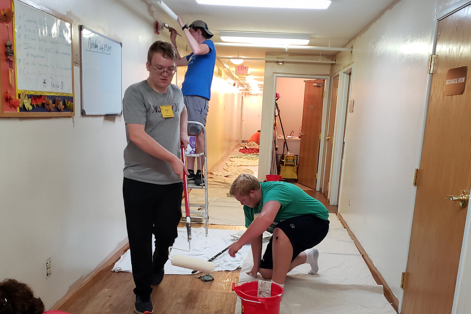 Teams of participants in this year's CHRISTpower weeklong summer service and reflection retreat for Catholic teen-agers in the Jefferson City diocese take part in an array of service projects in the Jefferson City area.