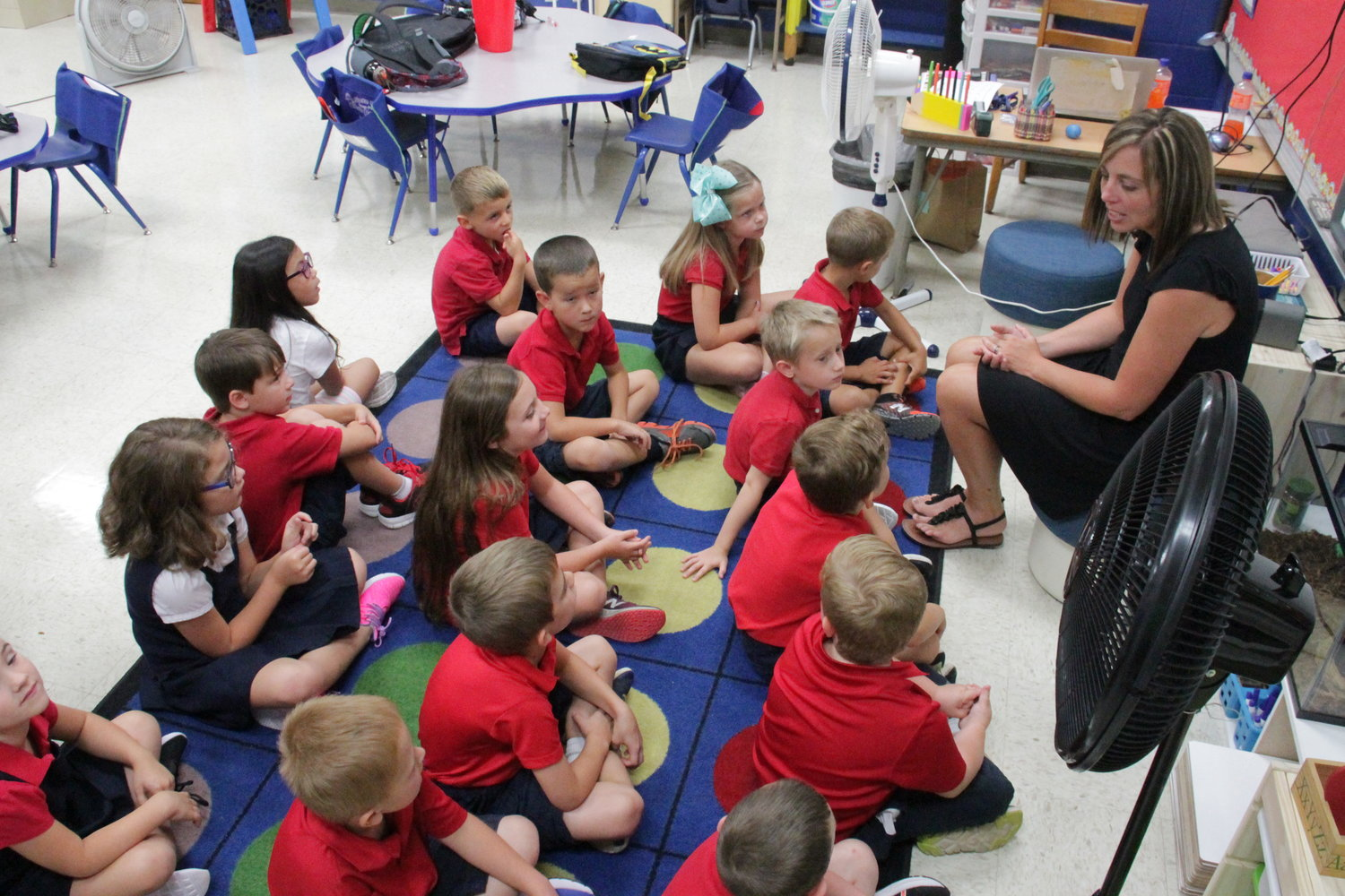 First-graders and their teacher, Kayla Bixenman, get to know each other on Day 1.