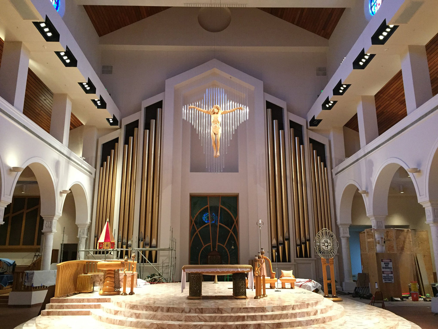 Organ pipes are seen in this undated photo near the altar at the Basilica of the National Shrine of Mary, Queen of the Universe in Orlando, Fla. The basilica recently completed the installation of 5,271 pipes, some reaching has high as 37 feet.