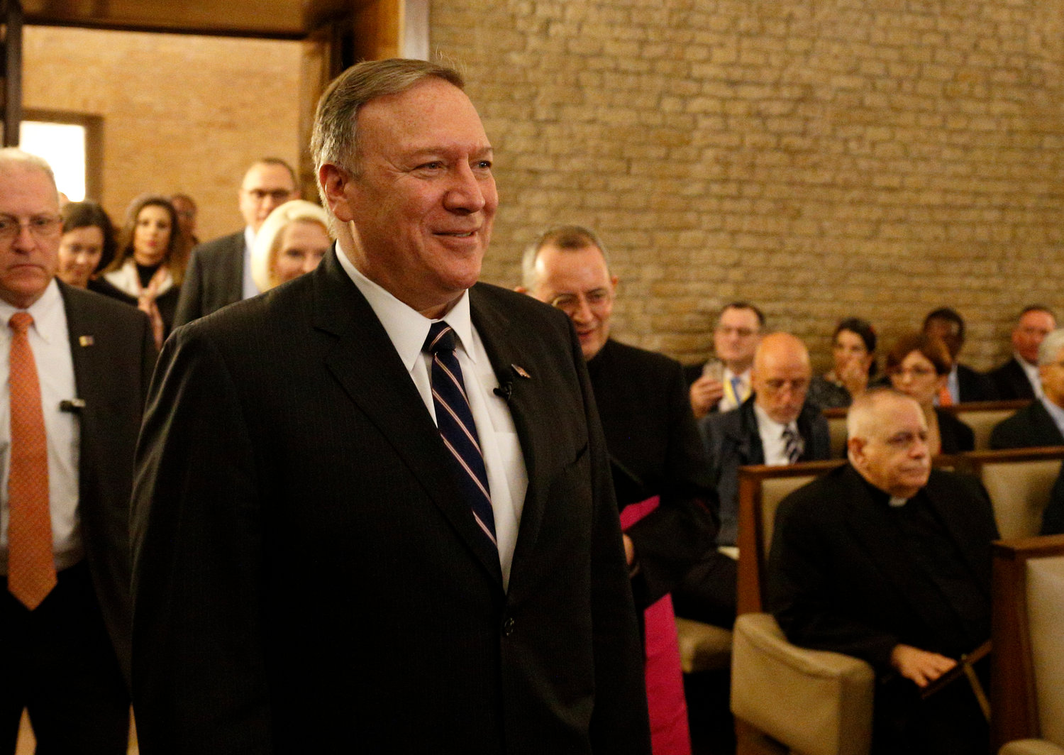 U.S. Secretary of State Mike Pompeo arrives to speak at a symposium sponsored by the U.S. Embassy to the Holy See at the Vatican Oct. 2, 2019. The symposium focused on areas of collaboration between the U.S. and the Vatican including the causes of advancing religious freedom and fighting against human trafficking.