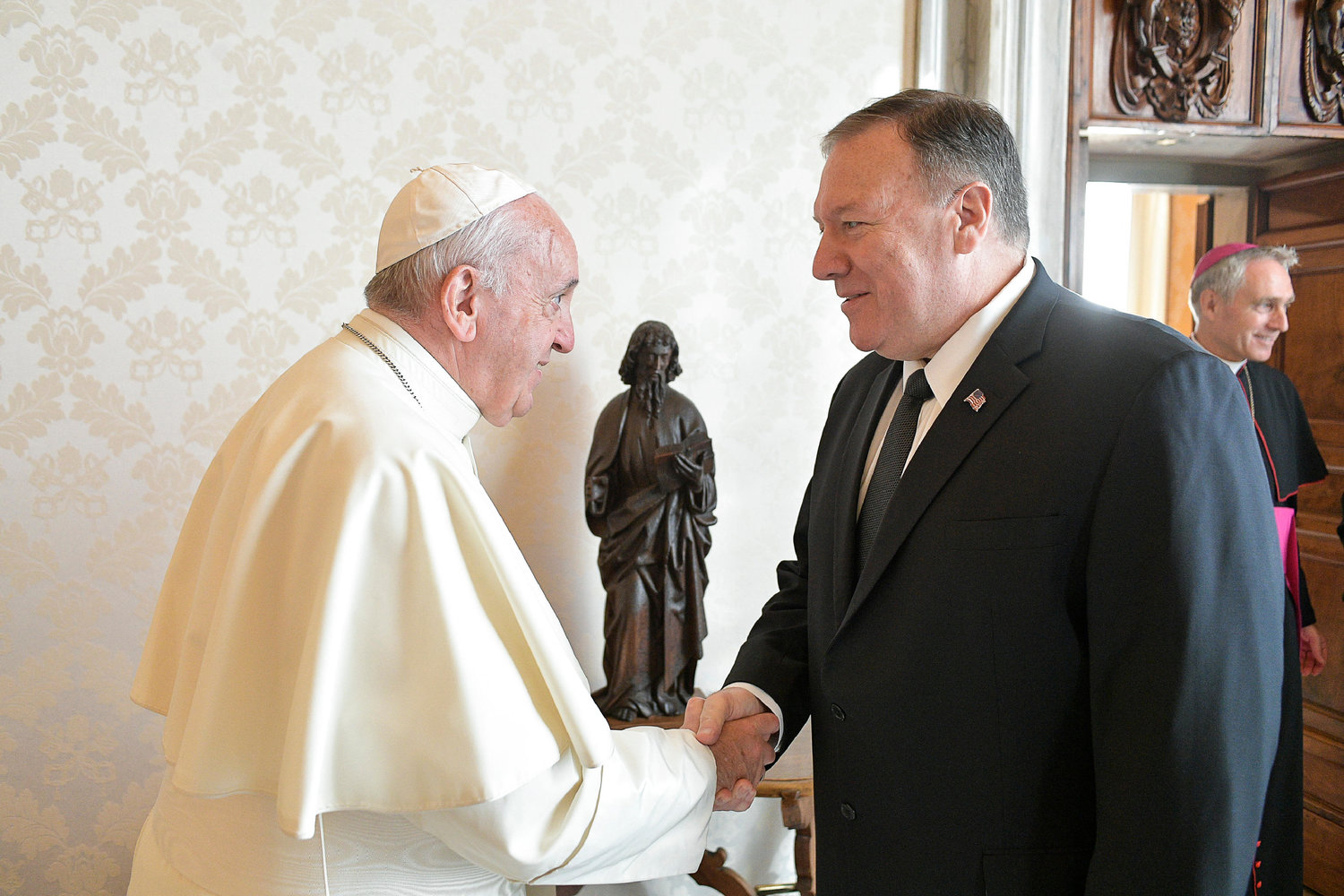 Pope Francis meets U.S. Secretary of State Mike Pompeo during a private audience at the Vatican Oct. 3, 2019.