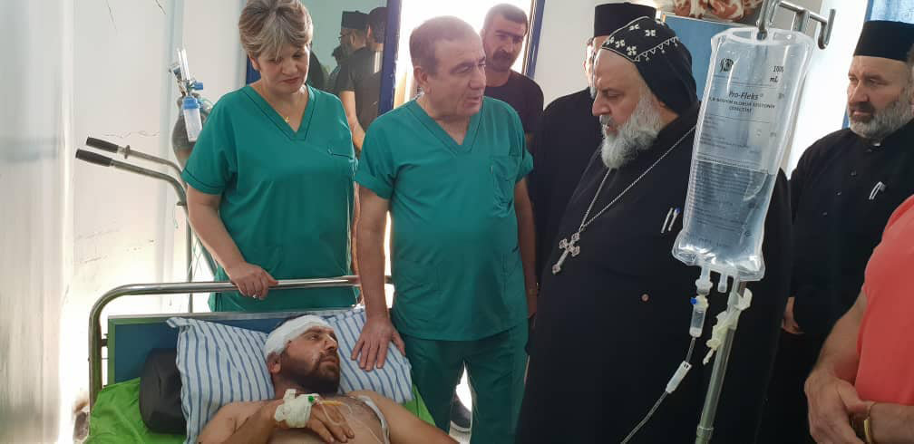 Syriac Orthodox Bishop Maurice Amsih of Jazeera and Euphrates, Syria, visits Christian-run Al-Salam hospital in Qamishli, Syria, Oct. 10, after the Turkish bombardment of northeast Syria had begun.