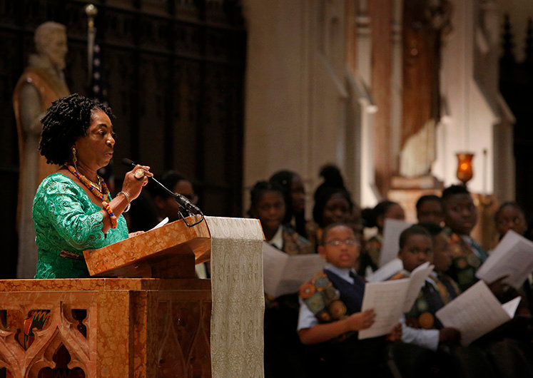 "The intercessory prayers were read in English, Spanish, French, and Ghanaian - I think this lady was last so ghana. Cardinal Cupich was the main celebrant at a Mass of Thanksgiving honoring Venerable Rev. Augustus Tolton on Oct. 14, 2019 at St. Philip Neri Church, 2132 E. 72nd St., ?Chicago. The Mass celebrated Pope Francis' June 11, 2019 declaration of Tolton as ""Venerable."" He is the first African American priest to receive this designation, a step toward possible sainthood."
