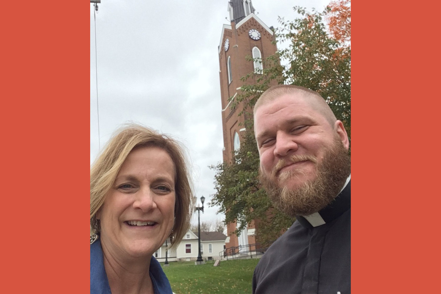 Kimie Bax, priest wellness coordinator for the Jefferson City diocese, visits with Father Colin Franklin, pastor of St. Joseph parish in Edina and the St. Aloysius mission in Baring and chaplain of the Catholic Newman Center in Kirksville, outside St. Joseph Church in Edina.