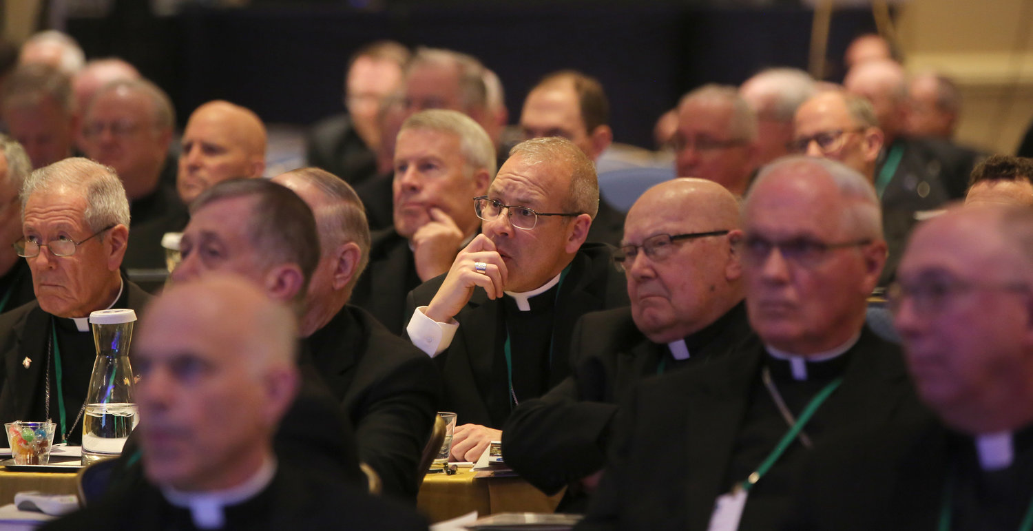Bishops listen to a speaker Nov. 14, 2018, at the fall general assembly of the U.S. Conference of Catholic Bishops in Baltimore. The bishops will gather for their annual meeting in Baltimore Nov. 11-13, 2019. — CNS photo/Bob Roller