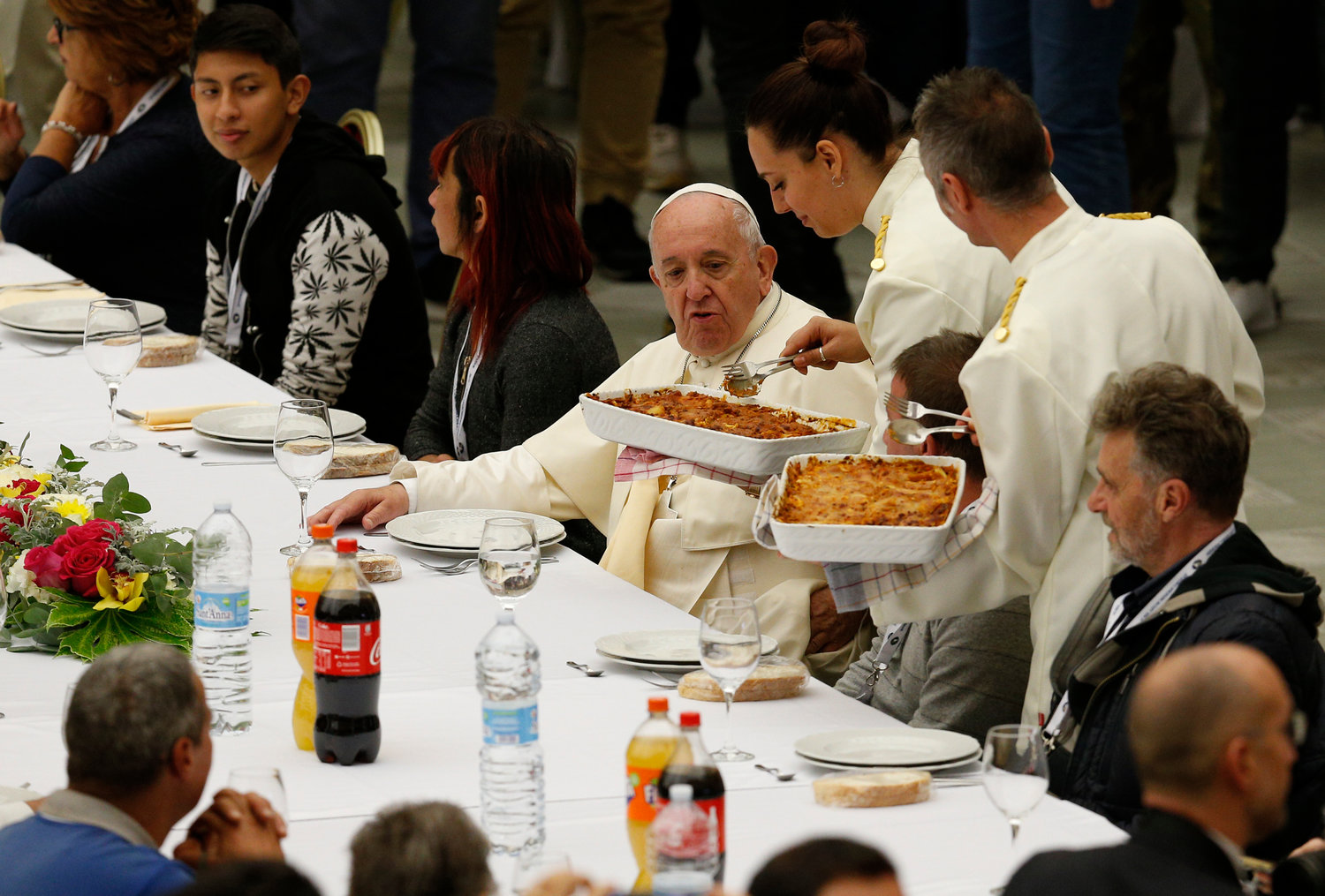 Pope Francis eats lunch with the poor in the Paul VI hall as he marks World Day of the Poor at the Vatican Nov. 17, 2019.