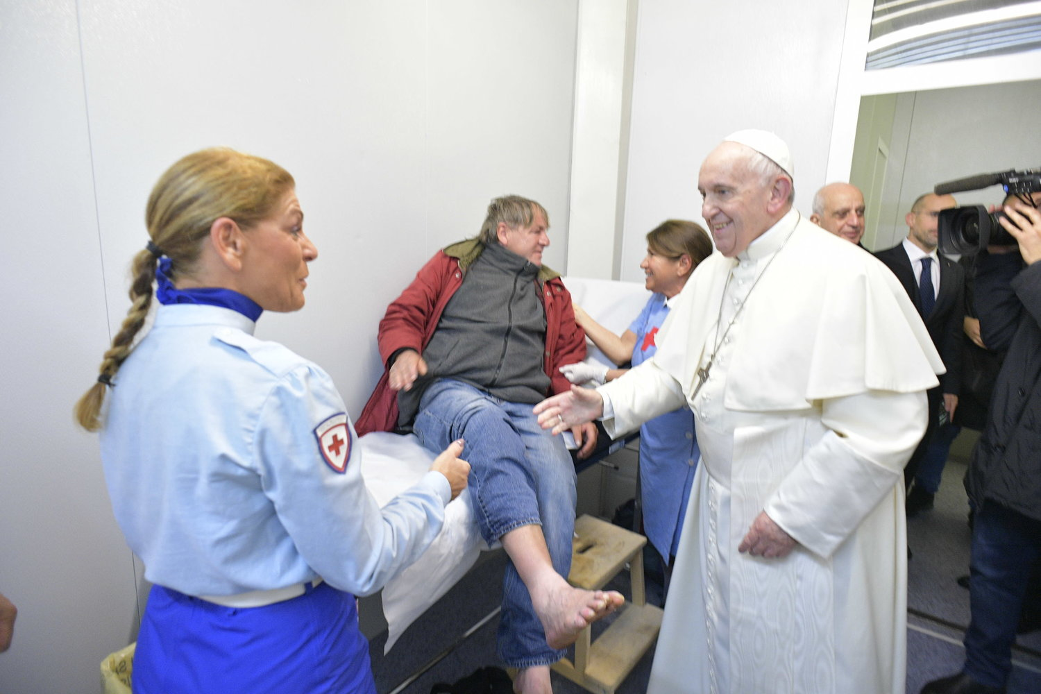 Pope Francis visits a medical clinic in St. Peter's Square at the Vatican Nov. 15, 2019. The clinic, staffed by doctors, nurses and volunteers, offered medical services during the week leading up to the World Day of the Poor.