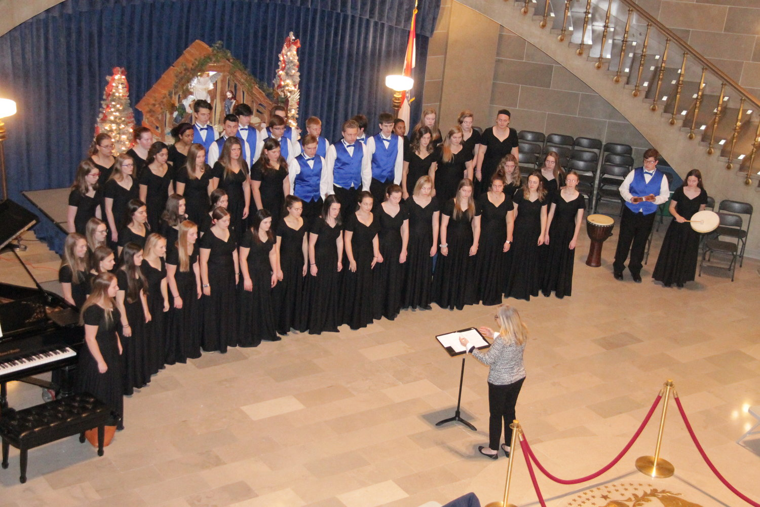 The Helias Catholic High School choir closesthe second hour of this year's Nativity at the Capitol event, held on Dec. 12 in the Capitol Rotunda.
