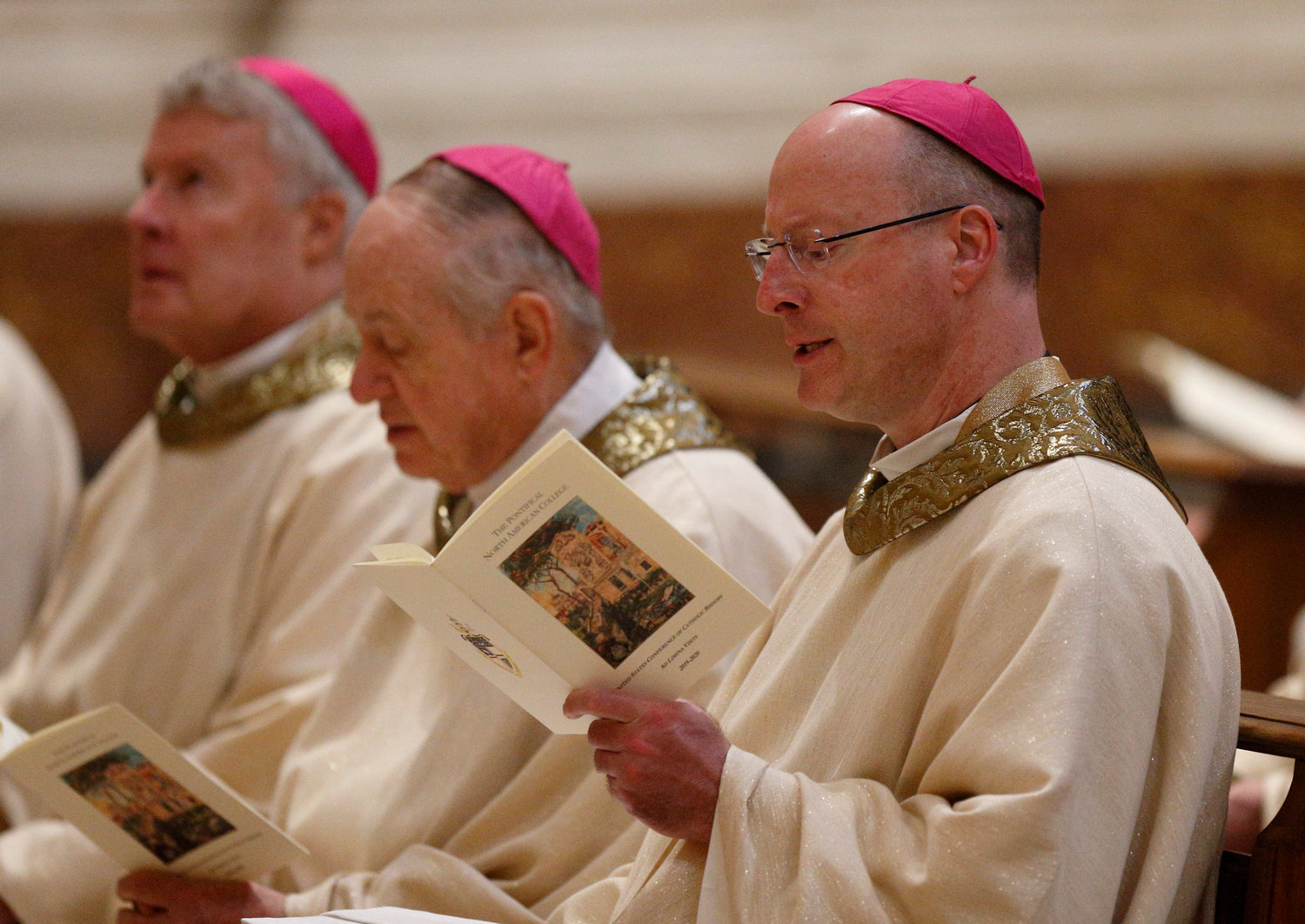 "Bishop W. Shawn McKnight of Jefferson City, Mo., and other U.S. bishops from Iowa, Kansas, Missouri and Nebraska leave in procession after concelebrating Mass at the Basilica of St. Mary Major in Rome Jan. 14, 2020. The bishops were making their ""ad limina"" visits to the Vatican to report on the status of their dioceses to the pope and Vatican officials."