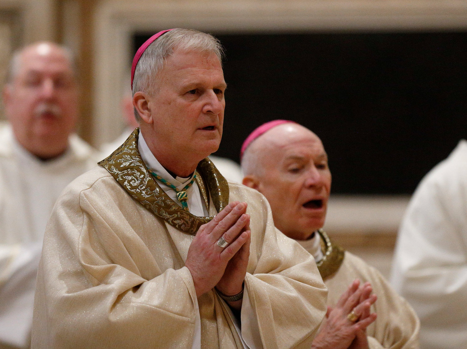 "Bishop James V. Johnston Jr. of Kansas City-Saint Joseph, Mo., and other U.S. bishops from Iowa, Kansas, Missouri and Nebraska concelebrate Mass at the Basilica of St. Mary Major in Rome Jan. 14, 2020. The bishops were making their ""ad limina"" visits to the Vatican to report on the status of their dioceses to the pope and Vatican officials. Behind him is Monsignor Robert A. Kurwicki, vicar general for the Jefferson City diocese."